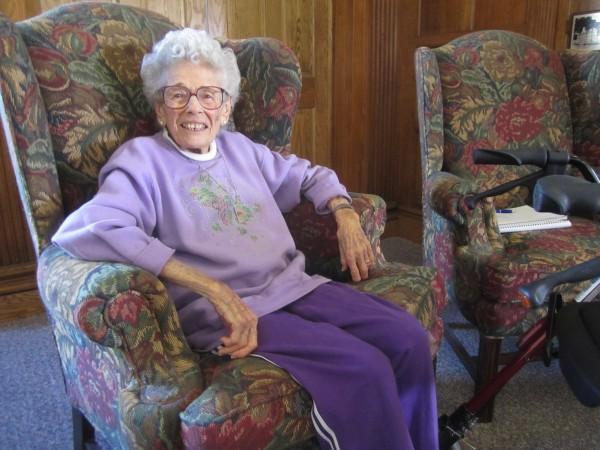 Elizabeth Siegel, aka Queen Elizabeth, at the Hammond Street Senior Center.