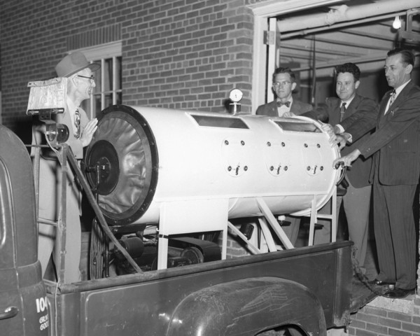 An iron lung from the National Foundation for Infantile Paralysis arrived Sept. 17, 1952, at Eastern Maine General Hospital for stand-by purposes in the event of polio cases.