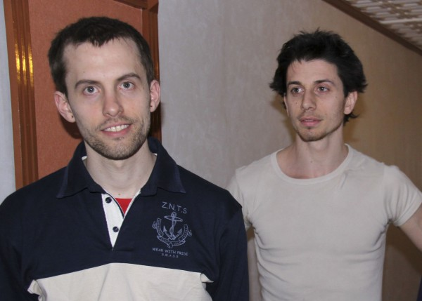 American hikers Shane Bauer, left, and Josh Fattal are shown in Tehran, Iran in May 2010.