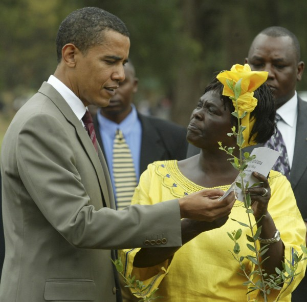 In this file photo of  Aug. 28, 2006 Wangari Maathai, Noble Peace Laureate and conservation heroine, right, is seen  with United States president, Barrack Obama in Nairobi, Kenya.