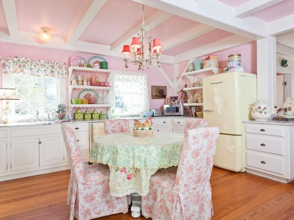The kitchen of Kirstie Alley's Islesboro vacation home, which is up for sale.