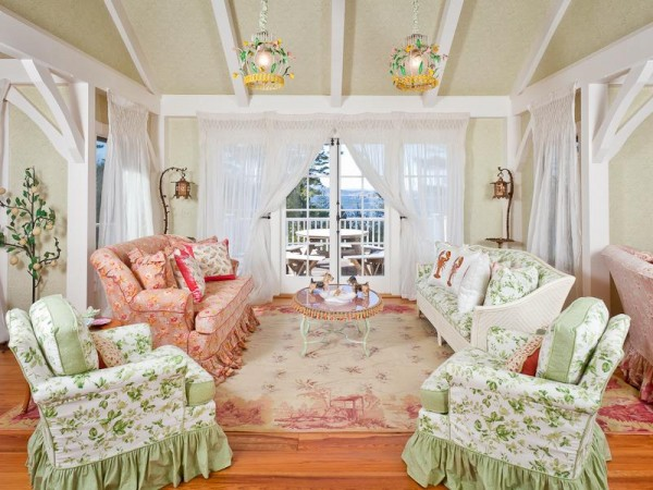 The living room of actress Kirstie Alley's vacation home on Islesboro, which is up for sale.