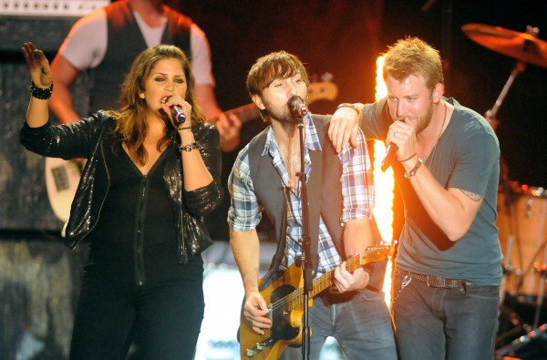 The members of Lady Antebellum (from left), Hillary Scott, Dave Haywood and Charles Kelley, perform at the Bangor Waterfront on Monday evening.