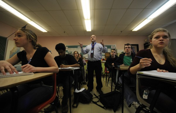 Math teacher Pete Pedersen (center) directs students' attention to the dry-erase board as they crunch numbers in an accelerated advance math class at the Maine School of Science and Mathematics in April 2009. In the front row are sophomores Casey Thornton (left) of Waterboro and Devin Ward (right) of Greenville. The school was recognized by U.S. News & World Report as the 14th best math and science high school out of about 600 in the nation on Wednesday, Sept. 30, 2011.