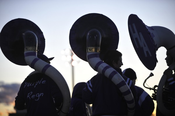 "Sousaphone players with Hampden Academy's ""Purple Reign"" marching band assemble before the start of Friday evening's football game with Old Town High School at Hampden."