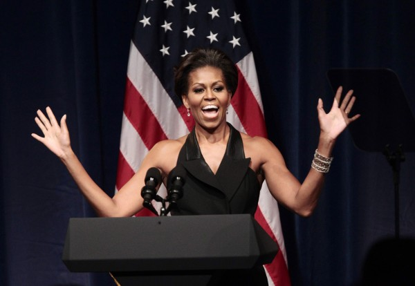 Michelle Obama gestures before introducing her husband President Barack Obama at a DNC fundraiser at Gotham Hall in New York on Sept. 20, 2011.Michelle Obama is visiting Maine Friday, Sept. 30, 2011, for two fundraiser events in support of her husband's re-election campaign, first a private party at a home in Cape Elizabeth, then a second appearance at the Ocean Gateway on the Portland waterfront for lower level donors.