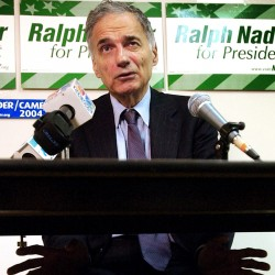 Ralph Nader gestures during a news conference in Portland in October 2004. Nader's legal team went before Maine's highest court Wednesday in what could be his final bid to sue Democrats and others he claims conspired to keep him off the 2004 ballot in Maine and more than a dozen other states.
