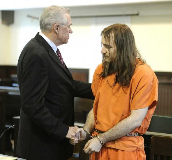 Attorney George Hess shakes hands with his client Eric Hamel after Justice Robert Clifford handed Hamel a 45-year sentence for the murders of Roger Leroy Day Jr. and Victor Reed Sheldon in Oxford County Superior Court on Wednesday.