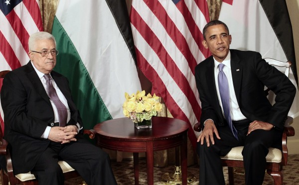 President Barack Obama and Palestinian President Mahmoud Abbas are meet in New York on Wednesday, Sept. 21, 2011.