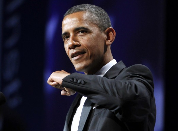 President Barack Obama gestures as he speaks about his basketball injury at the Congressional Hispanic Caucus Institute's 34th annual awards gala at the Washington Convention Center, Wednesday, Sept. 14, 2011 in Washington.