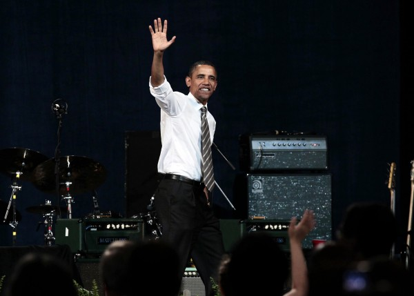 President Barack Obama walks off stage after speaking at a Democratic fundraiser at the Paramount Theater, Sunday, Sept. 25, 2011, in Seattle.