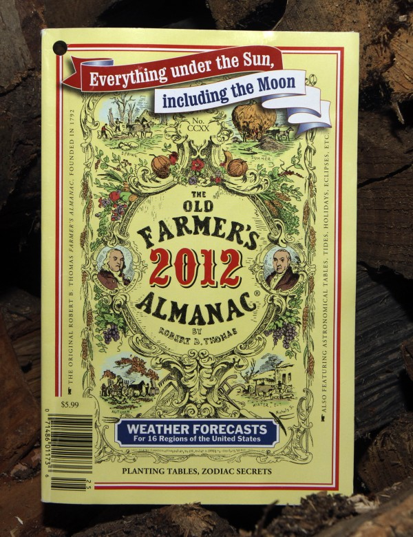 In this photo taken Sunday Sept. 11, 2011, the 2012 edition of the Old Farmer's Almanac is seen Concord, NH. The 220-year-old book, believed to be the oldest continuously published periodical in North America, has always tried to help readers be resourceful by providing home remedies, weather predictions and even the best days to quit smoking and plant crops based on the moon's position.