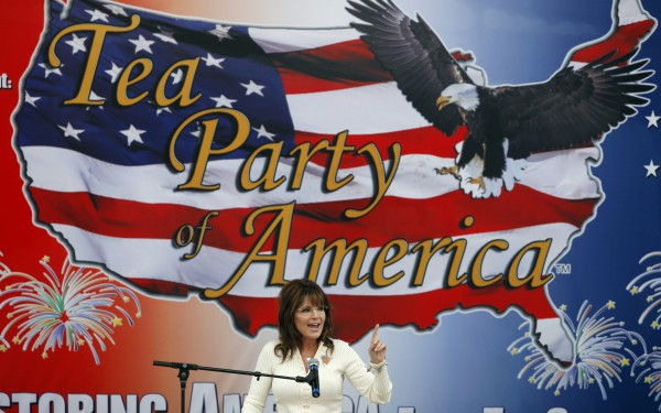 Former Alaska Gov. Sarah Palin speaks to Tea Party members during the Restoring America event, Saturday, Sept. 3, 2011, in Indianola, Iowa.