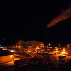 The East Milloinocket paper mill is seen at night in February.