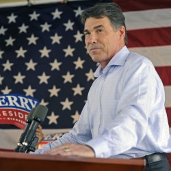 "Republican presidential hopeful Texas Gov. Rick Perry speaks during a ""Welcome Home Rally"" at Abel's on the Lake in Austin, Texas, on Saturday, Aug. 20, 2011."