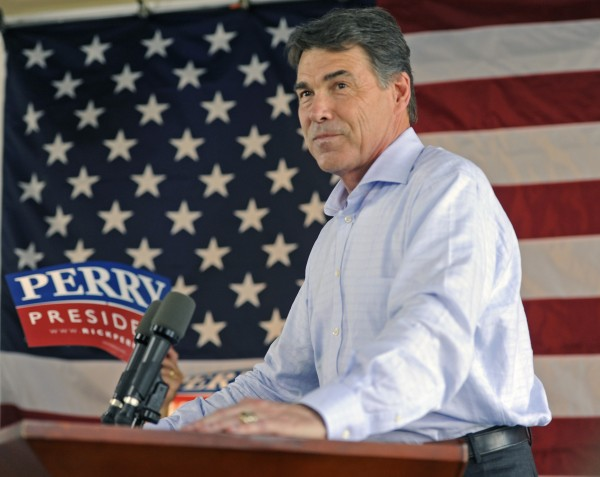 Republican presidential hopeful Texas Gov. Rick Perry speaks during a &quotWelcome Home Rally&quot at Abel's on the Lake in Austin, Texas, on Saturday, Aug. 20, 2011.