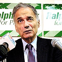 Independent presidential candidate Ralph Nader speaks during a news conference Tuesday, Oct. 5, 2004, in Portland, Maine.