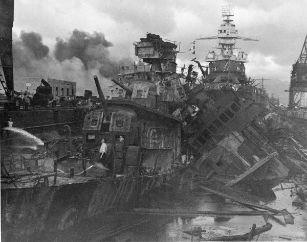 This Dec. 1941 file photo shows heavy damage to ships stationed at Pearl Harbor after the Japanese attack on the Hawaiian island on Dec. 7, 1941. The most comparable attack against the United States was the surprise Japanese bombing of Pearl Harbor on Dec. 7, 1941, that plunged the U.S. into war. The nation marked the 10-year anniversary of Pearl Harbor much differently than now. Just like the 10-year anniversary of Sept. 11, how the nation experienced the anniversary of Pearl Harbor was shaped by what was happening in the world in 1951.