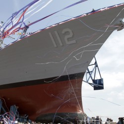 The Murphy, which was built in a series of Arleigh Burke-class destroyers, is christened at Bath Iron Works shipyard in Bath on May 7, 2011.