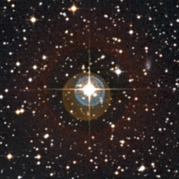 This undated handout image provided by The Europeans Southern Observatory shows a close-up of the sky around the star HD 85512. The picture was created from photographs taken through red and blue filters and  forming part of the Digitized Sky Survey 2. The colored halos around  the star, and the spikes of light, are artifacts of the telescope and  are not real. The remarkable rocky planet HD 85512b that orbits this  star is far too faint and too close in to be visible in this image.Astronomers have confirmed a second planet outside our solar system that seems to be in the right place for life _ just barely. But it would be a steam bath world: hot, sticky and downright uncomfortable.