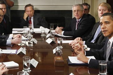 National Economic Council Director Lawrence Summers nods off at a meeting with representatives of credit card companies in 2009.