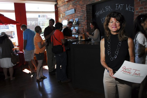 Pamela Laskey started Maine Foodie Tours three years ago in Portland, expanded to Freeport this year and is eying opportunities in Kennebunkport and Bar Harbor. Tourists take her tour in Vervacious, a Portlans shop in June.