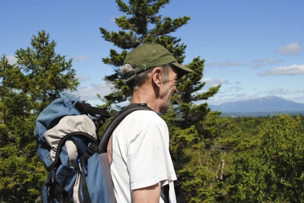 Brad Viles takes a minute to stop and enjoy the view of Katahdin from the Trutle Ridge Trail in the Nahmakanta Public Lands.