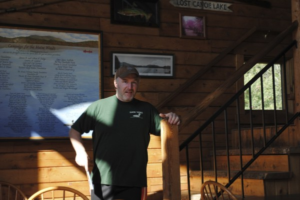 Chris Keene, one of the crew members at Little Lyford Pond Camps greets visitors.