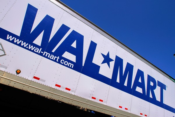 The Wal-Mart logo is displayed on the side of a delivery truck in Springfield, Ill., in May 2011
