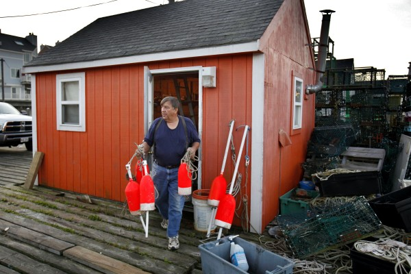 Lobsterman Stevie Straw leaves his fishing shack after retying line on his buoys.