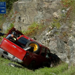State police and emergency officials responded to a vehicle which veered off of Interstate 95 southbound near the Coldbrook Exit 180 late Friday morning, Sept. 30, 2011.