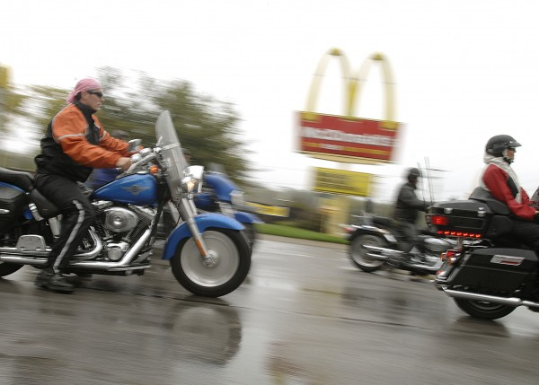 About two dozen motorcycles and their riders braved the rain for the Brenda Sibley Memorial Ride starting from the Old Town McDonald's on Saturday morning Sept. 24, 2011. The riders raised money for the Lafayette Family Cancer Center as part of Eastern Maine Charities and CancerCare of Maine.