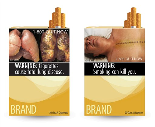 This combo made from file images provided by the U.S. Food and Drug Administration shows two of nine new warning labels cigarette makers will have to use by the fall of 2012. Four of the five largest U.S. tobacco companies sued the federal government Tuesday, Aug. 16, 2011, over the new graphic cigarette labels, saying the warnings violate their free speech rights and will cost millions of dollars to print.
