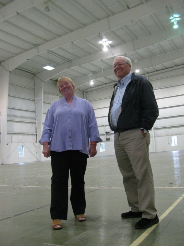 Jan Anderson and Wayne Snyder stand Thursday, Sept. 29 in the just-rented facility for their new company, Coastal Farms and Foods. Beginning in April 2012, the manufacturing space formerly used by Moss Inc. will be used to freeze, process and store farm products from within a 50-mile radius of Belfast.