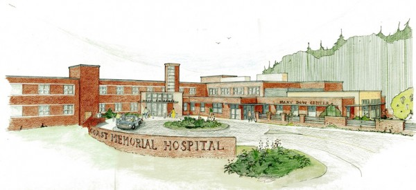 An artists' rendition of the new Mary Dow Cancer Center facility proposed at Maine Coast Memorial Hospital. The cancer center will be housed in the old emergency department as well as an addition to the hospital.