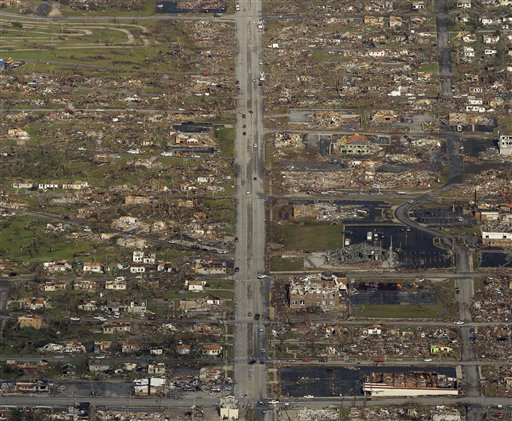 This May 24 photo shows the path of a powerful tornado in Joplin, Mo.