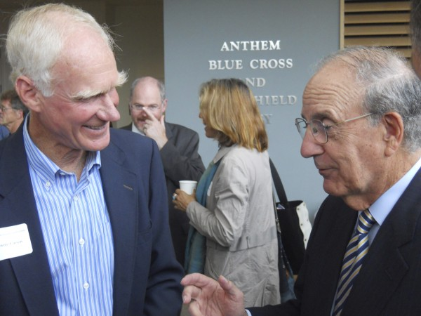 Former U.S. Sen. George Mitchell mingles with longtime friend and former Natural Resources Council of Maine Executive Director Everett 'Brownie' Carson Friday before Mitchell's keynote speech at the NRCM's annual membership meeting.
