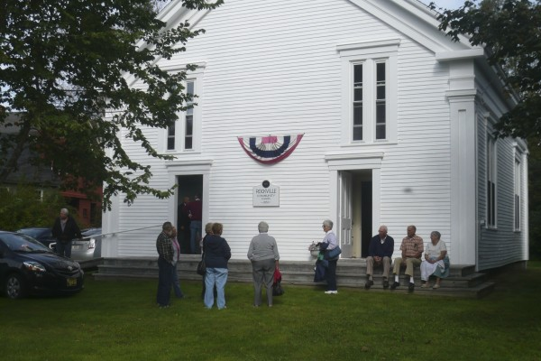 Rockville residents gathered at the Rockville Community Chapel last Sunday to hear a presentation by local historian Vernon B. Hunter, a descendant of the village's founders. The chapel is the sole remaining public building in the community and is celebrating its 150th anniversary.