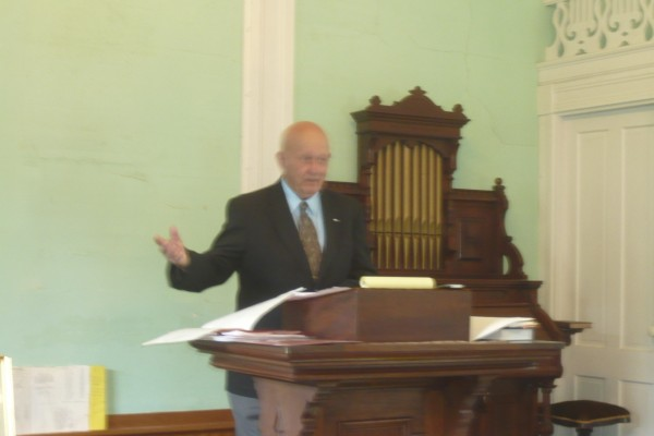 Historian Vernon B. Hunter provides Rockville residents with an overview of the village's history during a Sunday afternoon meeting at the Rockville Community Chapel. The chapel is celebrating its 150th anniversary this year with a series of fundraisers and historical events.