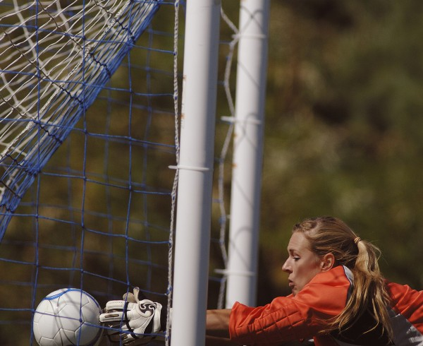 Old Town's keeper Ashley Abbott can't get her hands on the ball after it had taken a high bounce in front of the net to score for Hermon in the first half of their game in Hermon Saturday Sept. 17, 2011.