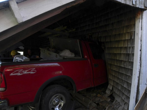 Josh Parker, 27, of Guilford, was seriously injured Friday afternoon when his vehicle smashed into a garage on Route 150 and a rafter impaled his chest. Parker was taken to Mayo Regional Hospital in Dover-Foxcroft and then airlifted to Eastern Maine Medical Center in Bangor.