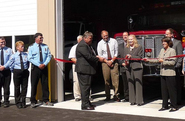 Firefighters, officials and town selectmen lined up in front of the new $650,000 Jonesport Fire Station Monday morning to cut a ribbon officially dedicating the new facility. The building is 1,800 square feet larger than the previous station, which was in poor condition, and was financing through the U.S. Department of Agriculture Rural Development Agency, a Community Development Block Grant, and $100,000 from the town itself. &quotWe are blessed today,&quot Bimbo Look, town selectman said during the ceremony.