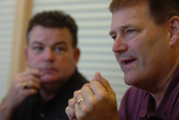 Michael Sefton (right), a Massachusetts police officer, and Brian Gagan, (left), a former Scarborough and Westbrook police officer, discuss the psychological autopsy of Steven Lake, who gunned down his estranged wife, Amy, and their two children before turning the gun on himself in June.