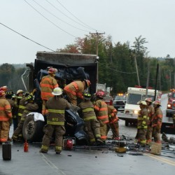 Driver escapes injury in tractor-trailer crash