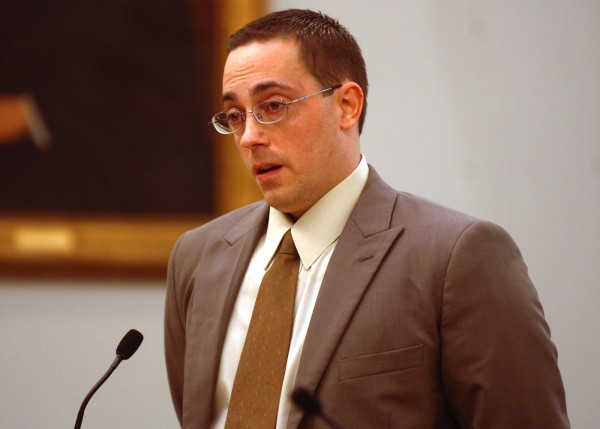Nathaneal Nightingale addresses the court during his sentencing at the Penobscot Judicial Center in Bangor on Tuesday, September 27, 2011. Nightingale received 40 years for murder, with 15 years concurrent, for the 2009 death of Michael Miller, Sr., and Valerie Miller, at the couple's Webster Plantation home.