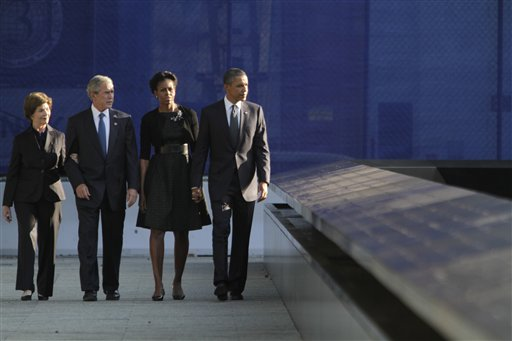 President Barack Obama, first lady Michelle Obama, former President George W. Bush and former first lady Laura Bush mark the 10th anniversary of the attacks at World Trade Center, Sunday, Sept. 11, 2011 in New York.