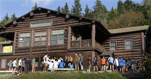 Students line up for dinner during orientation at Dartmouth College's Moosilauke Ravine Lodge, in Warren, N.H.