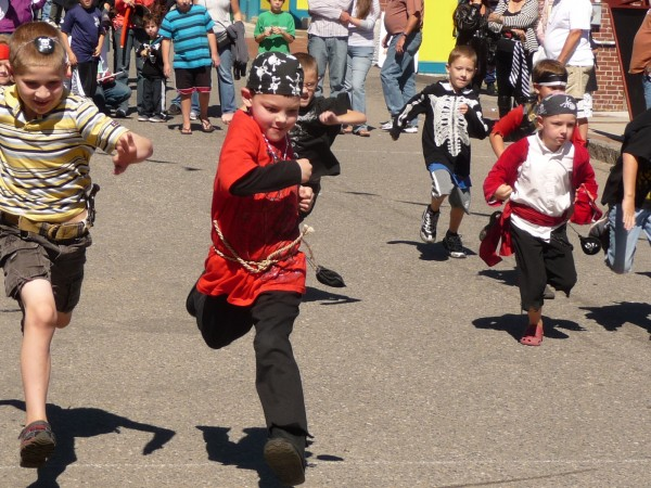 Children dressed as pirates competed in a variety of events including foot races, a doubloon scramble and a pinata contest.