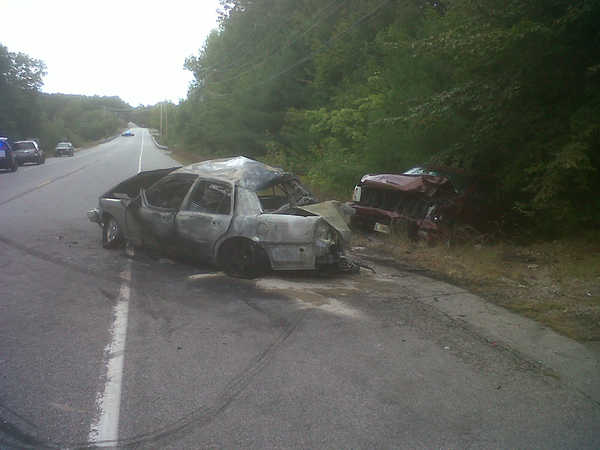 Steven Hazen, 62, of Boston, was driving this Ford sedan east on Route 302 near Hawthorne Road in Raymond when it was rear-ended as he slowed to turn into a driveway Friday. The crash led to two other vehicles being involved, the Cumberland County Sheriff's Department said. Hazen was hospitalized in Portland with serious injuries.