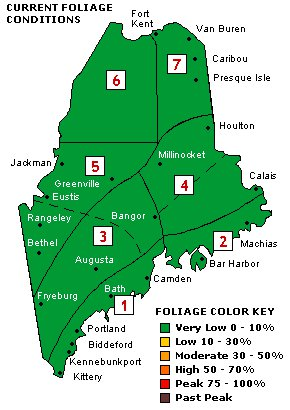 Maine Department of Conservation foliage map